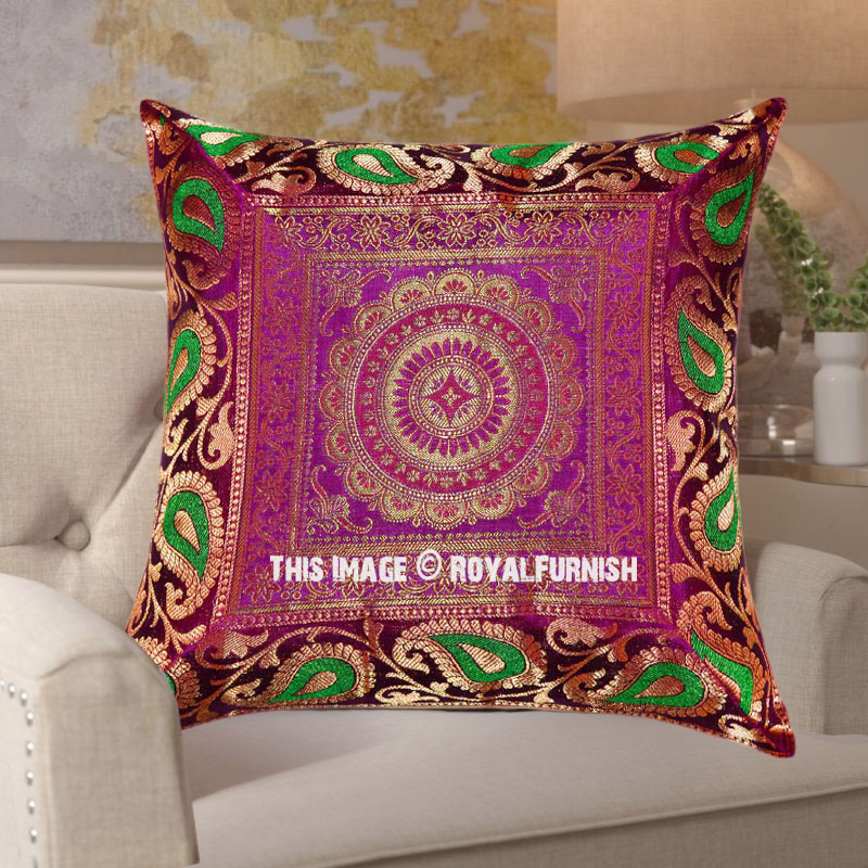 Pink And Green Mixed Central Floral Medallion Silk Pillow