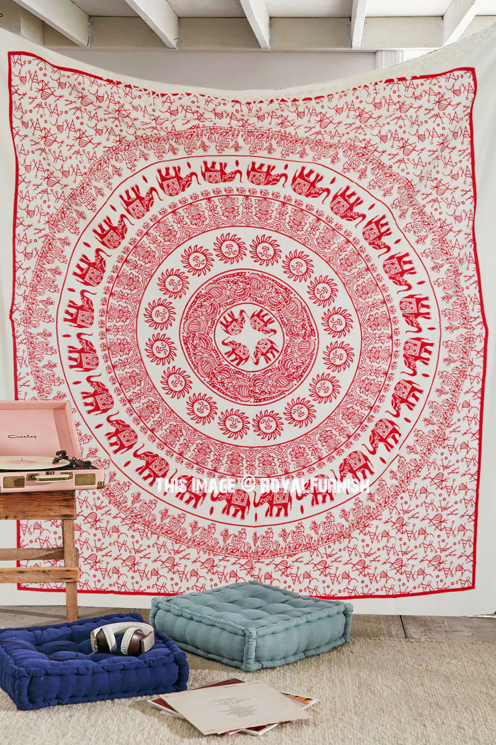 Psychedelic Red Sun Elephant Medallion Tapestry Cotton