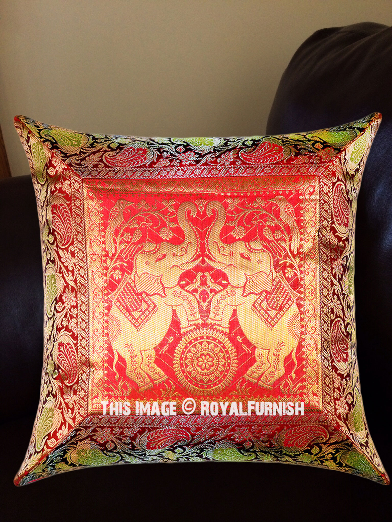 Maroon And Gold Color Elephants On Wheels Square Throw