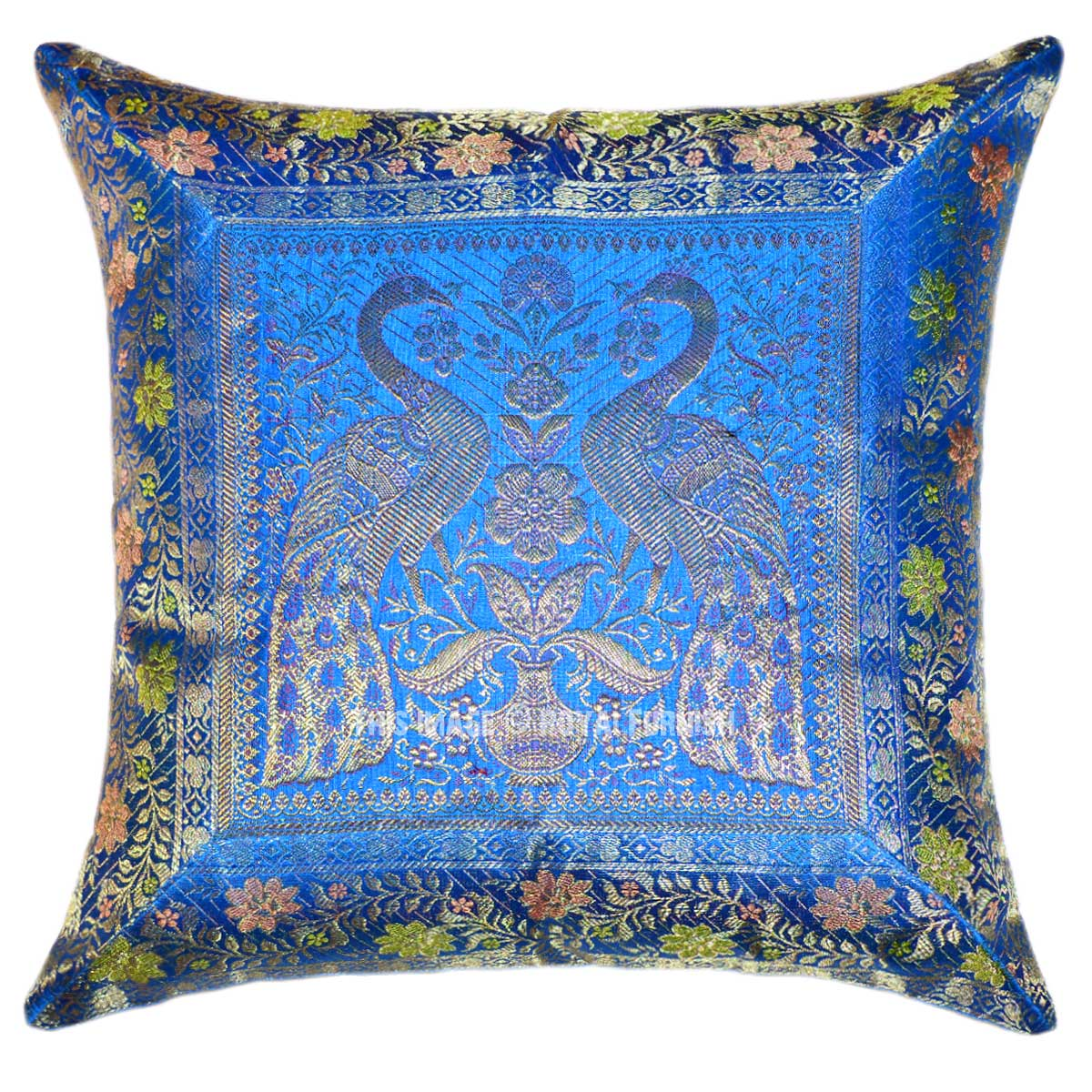 Turquoise Blue Two Peacocks Featuring Silk Throw Pillow Case - RoyalFurnish.com