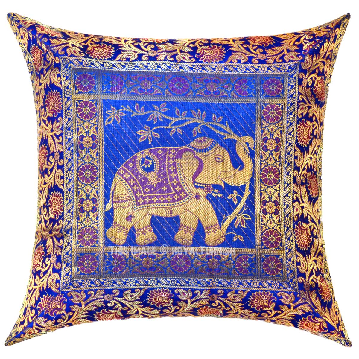 Blue Elephant Holding Tree Featuring Silk Throw Pillow