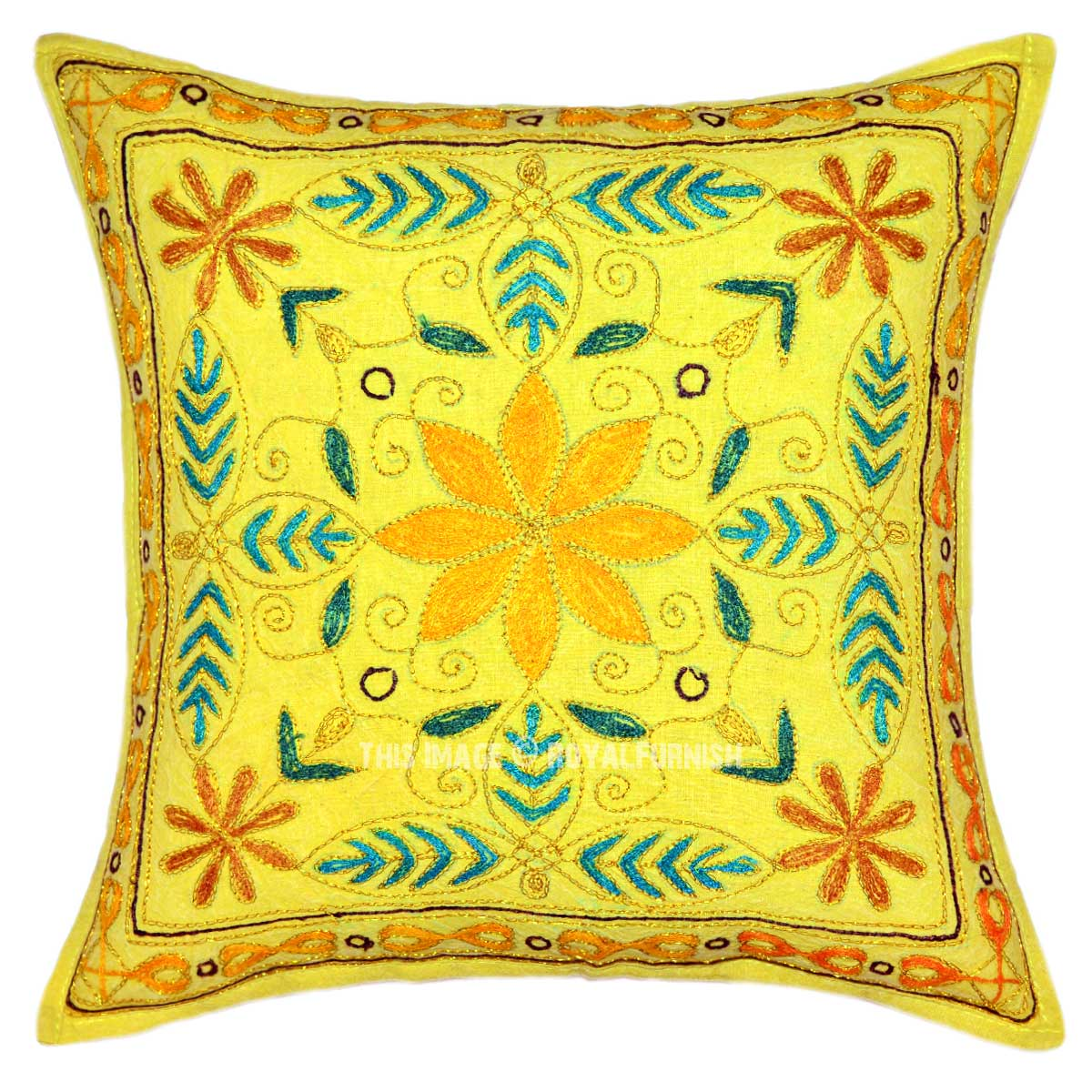 Embroidered Throw Pillow Covers : Yellow Hand Embroidered Boho Style Throw Pillow Cover - RoyalFurnish.com