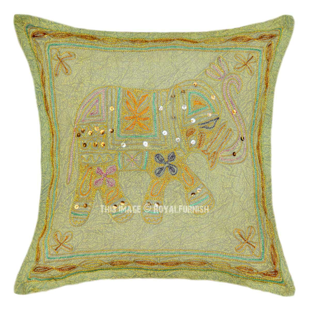 Embroidered Throw Pillow Covers : Brown Elephant Embroidered 16X16 Cotton Throw Pillow Cover - RoyalFurnish.com
