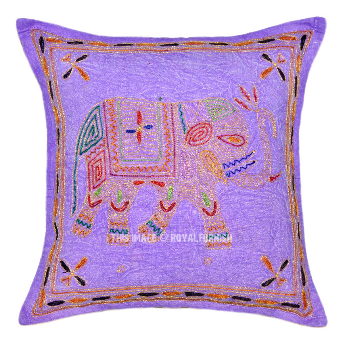Purple Decorative Embroidered Elephant Cotton Pillow Cover - RoyalFurnish.com