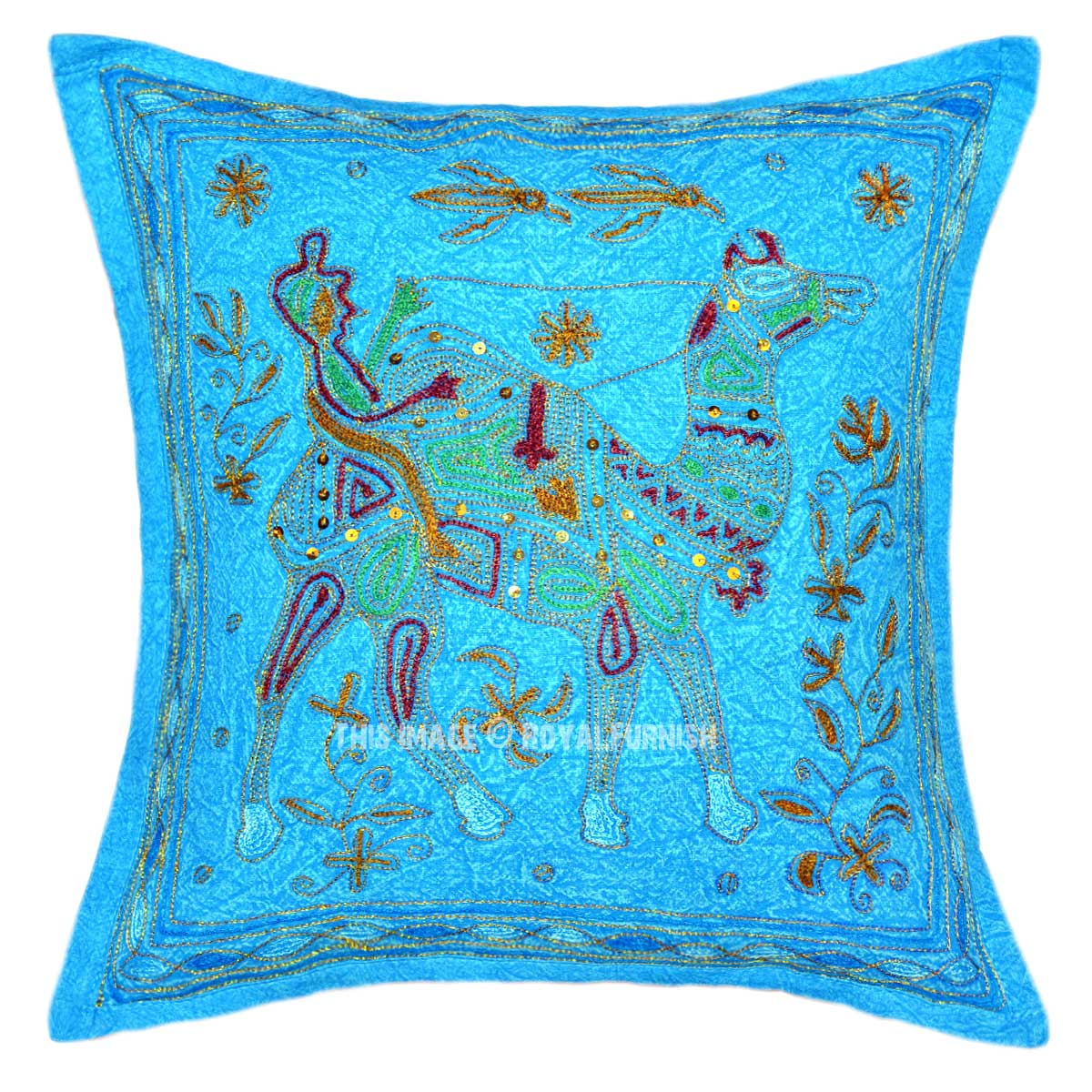 Turquoise Camel Riding Hand Embroidered Accent Throw Pillow Cover - RoyalFurnish.com