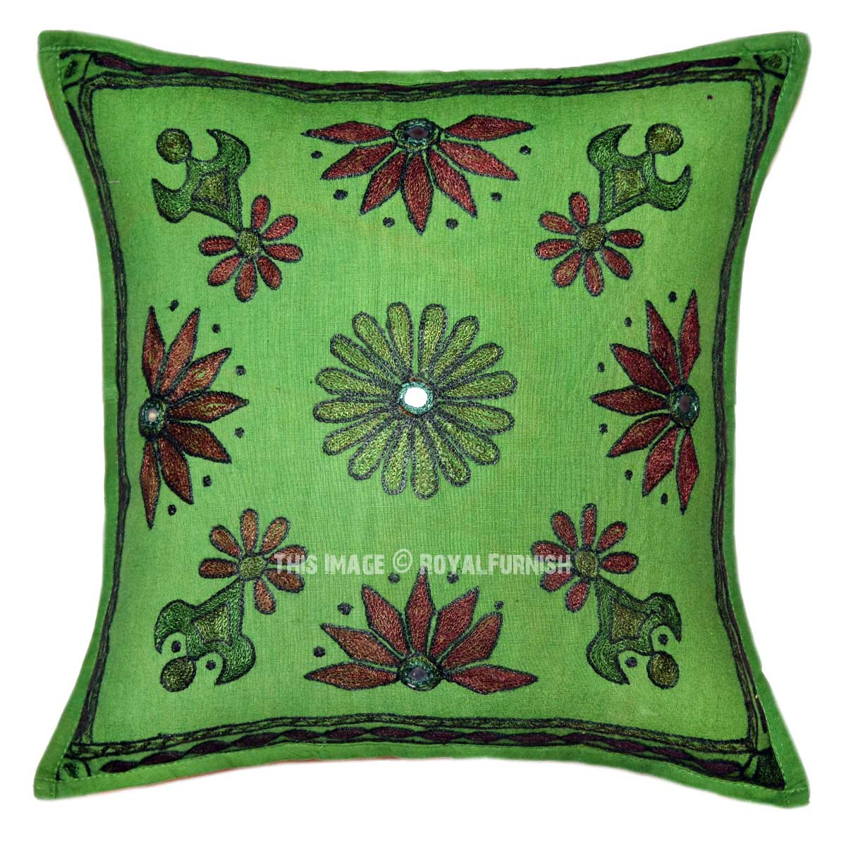Green Decorative Folk Embroidered Boho Throw Pillow Sham 16X16 - RoyalFurnish.com