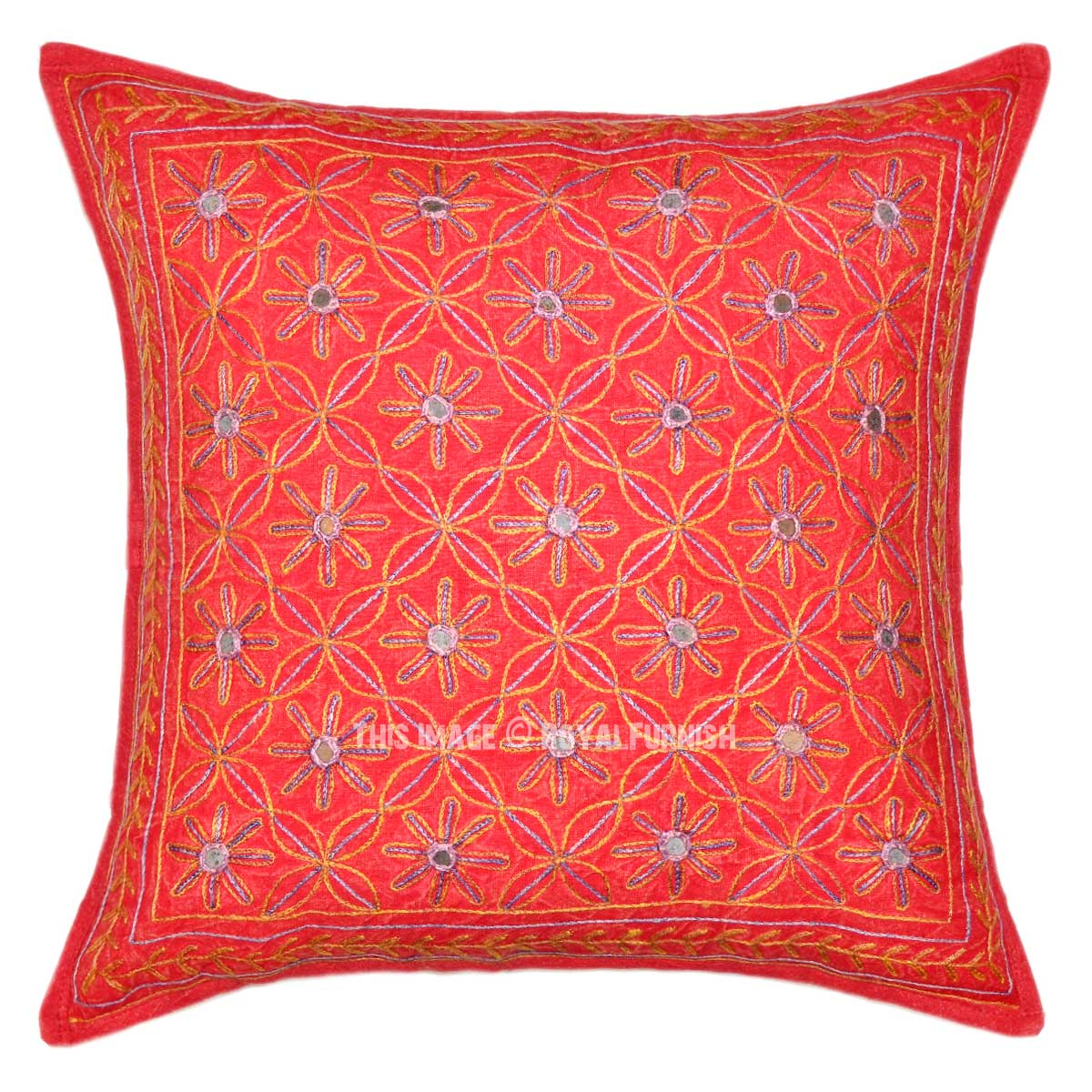 Embroidered Throw Pillow Covers : Red 16X16 Decorative One-Of-A-Kind Unique Embroidered Pillow Cover - RoyalFurnish.com