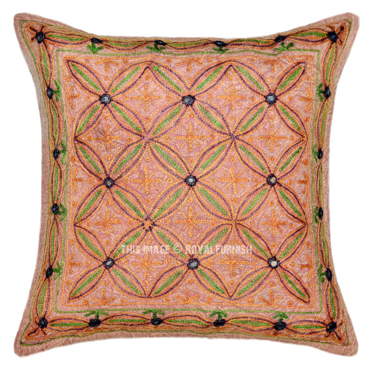 Brown Decorative 16X16 Bohemian Floral Ari Embroidered Pillow Cover - RoyalFurnish.com
