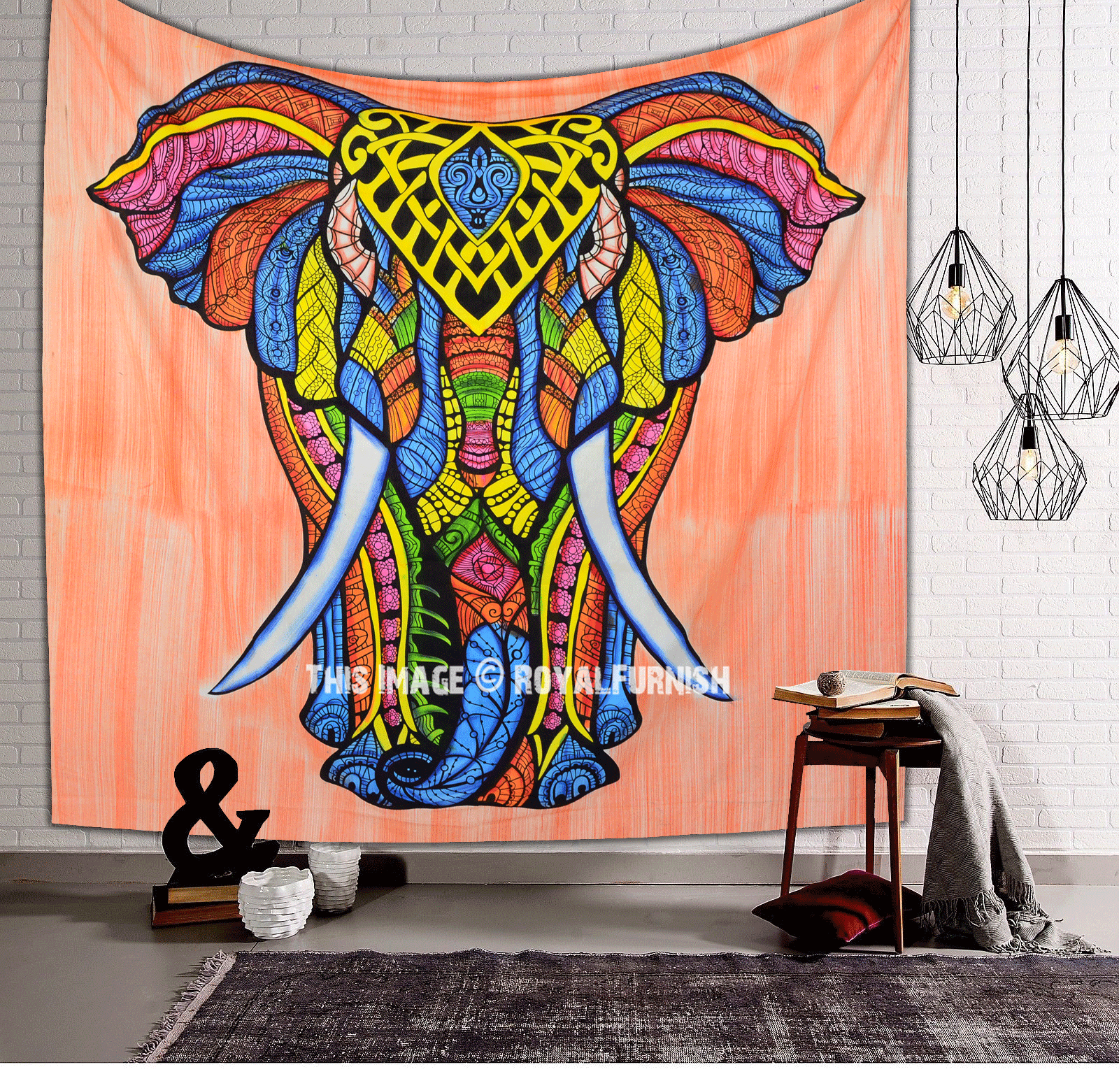 Orange multi hand brush asian elephant tapestry - Decoratie kamer ...