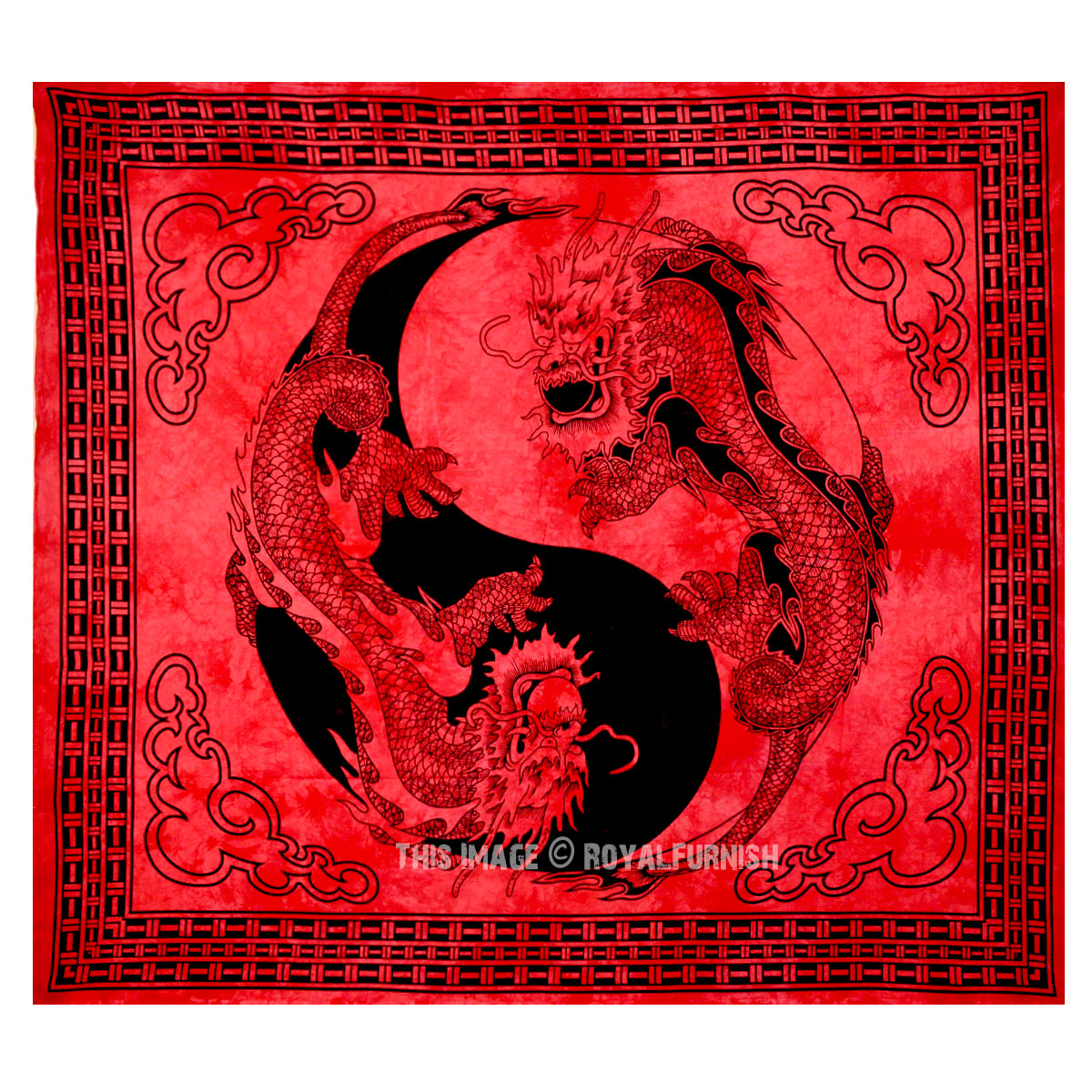Red Yin Yang Chinese Dragon Fly Hippie Tapestry Wall