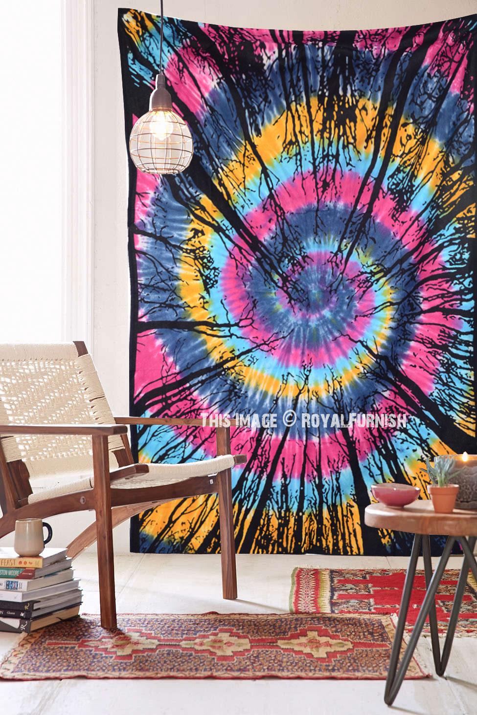 Colorful Tie Dye Locust Trees From Below Tapestry