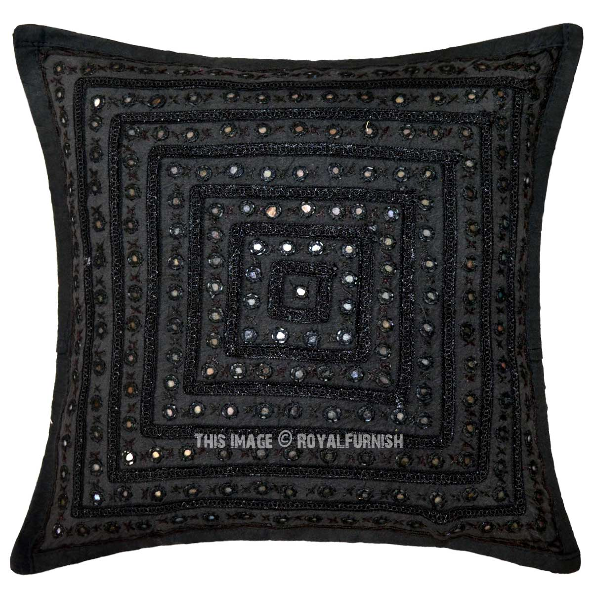 Black Decorative Unique Mirrored Embroidered Throw Pillow Cover 16X16 Inch - RoyalFurnish.com