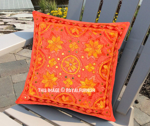 Red Multi Decorative and Accent Handcrafted Star Mirrored Pillow Cover 16X16 Inch - RoyalFurnish.com