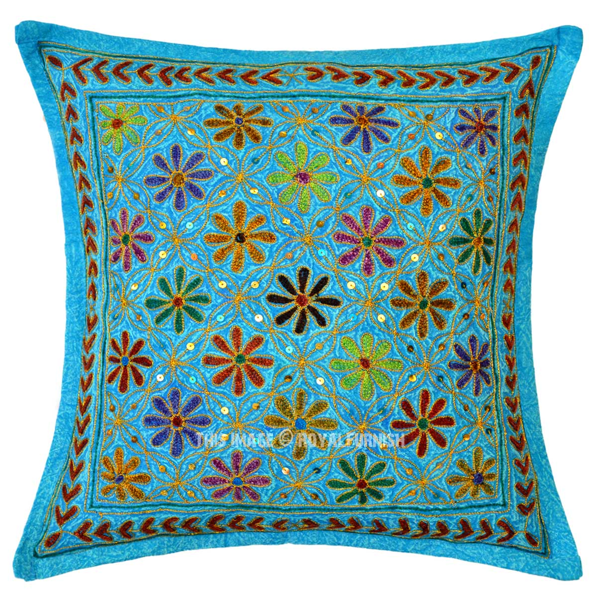 Embroidered Throw Pillow Covers : Turquoise Blue Decorative Needlepoint Embroidered Cotton Throw Pillow Cover 16X16 - RoyalFurnish.com