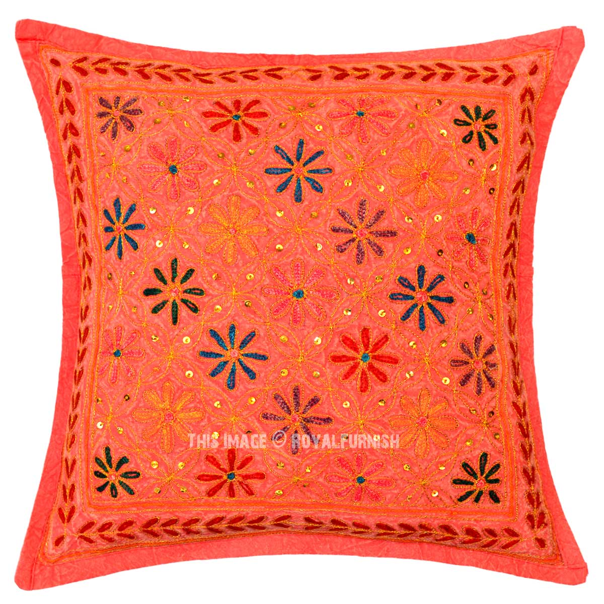 Red Decorative One-Of-A-Kind Unique Floral Embroidered Pillow Cover 16