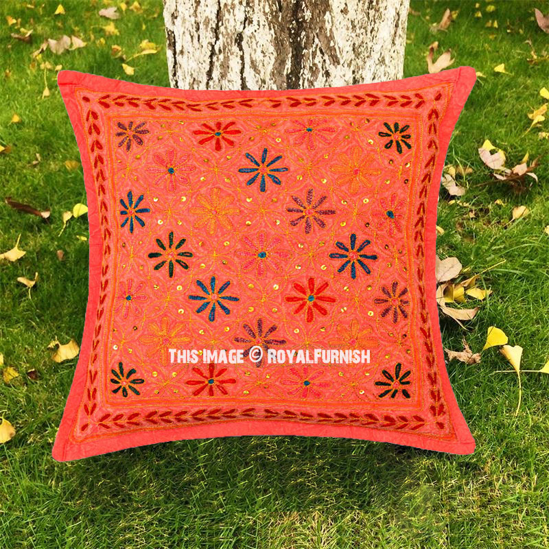 Unique Decorative Throw Pillows : Red Decorative One-Of-A-Kind Unique Floral Embroidered Pillow Cover 16