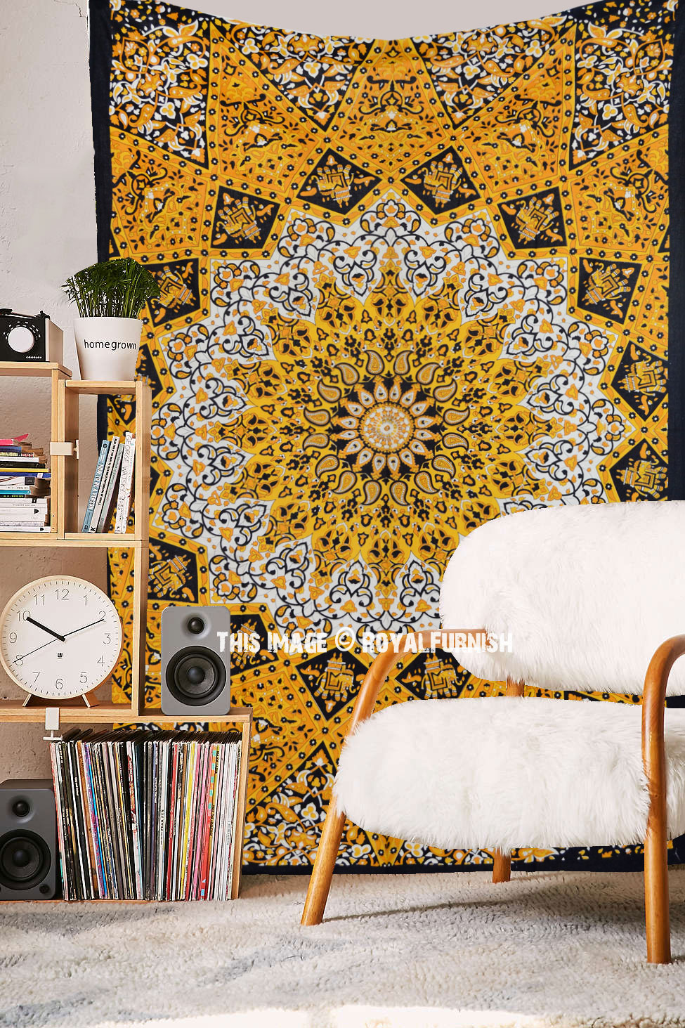 Yellow Small Plum And Bow 3 D Star Medallion Wall Tapestry