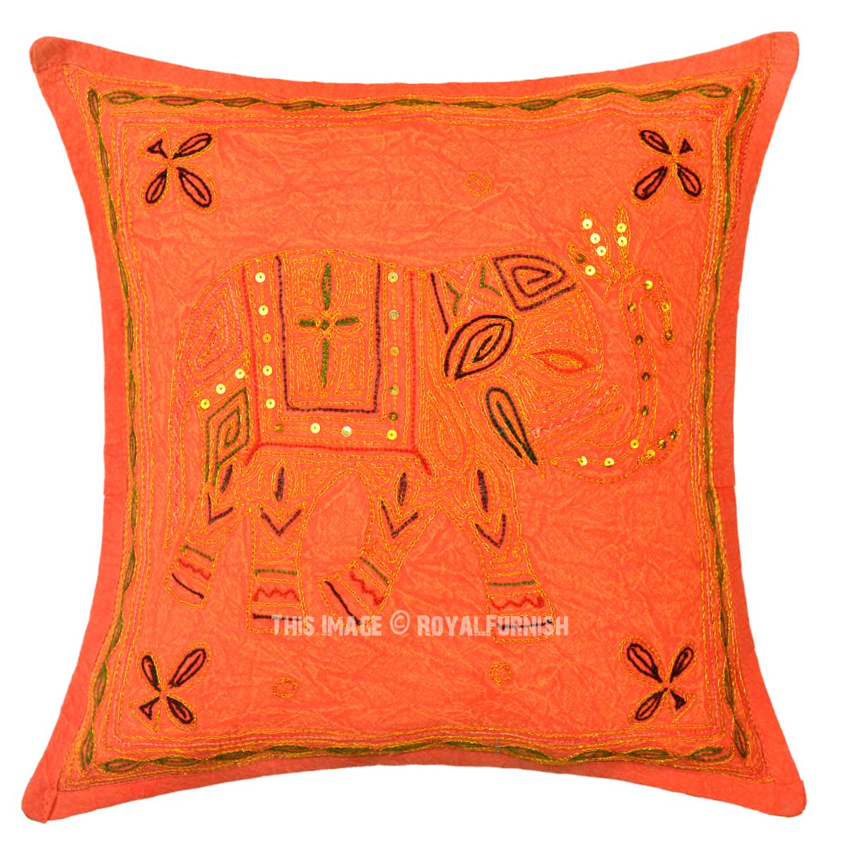 Orange Needlepoint Hand Embroidered Elephant Pillow Cover 16X16 Inch - RoyalFurnish.com