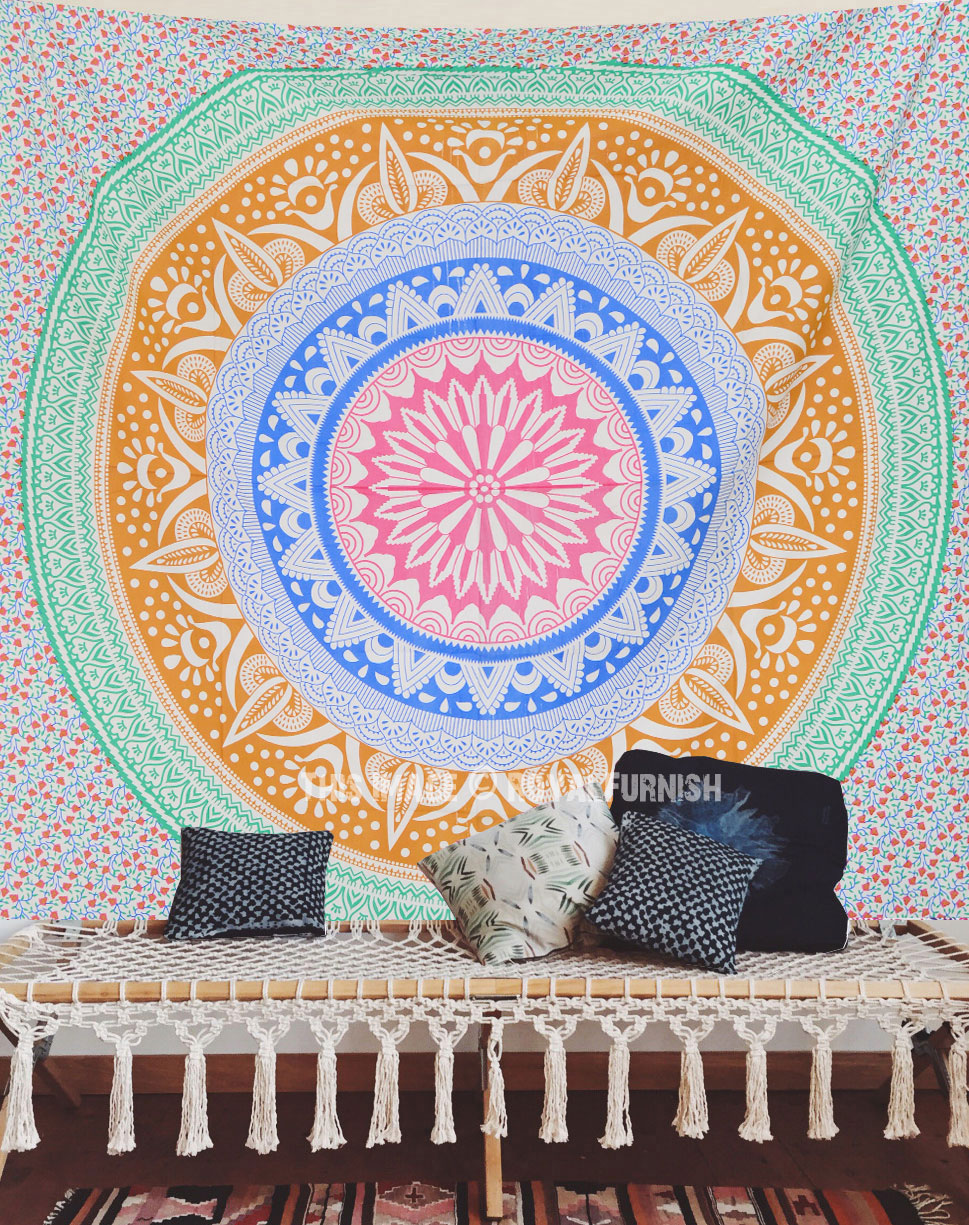 Multi Colorful Trippy Ombre Mandala Tapestry
