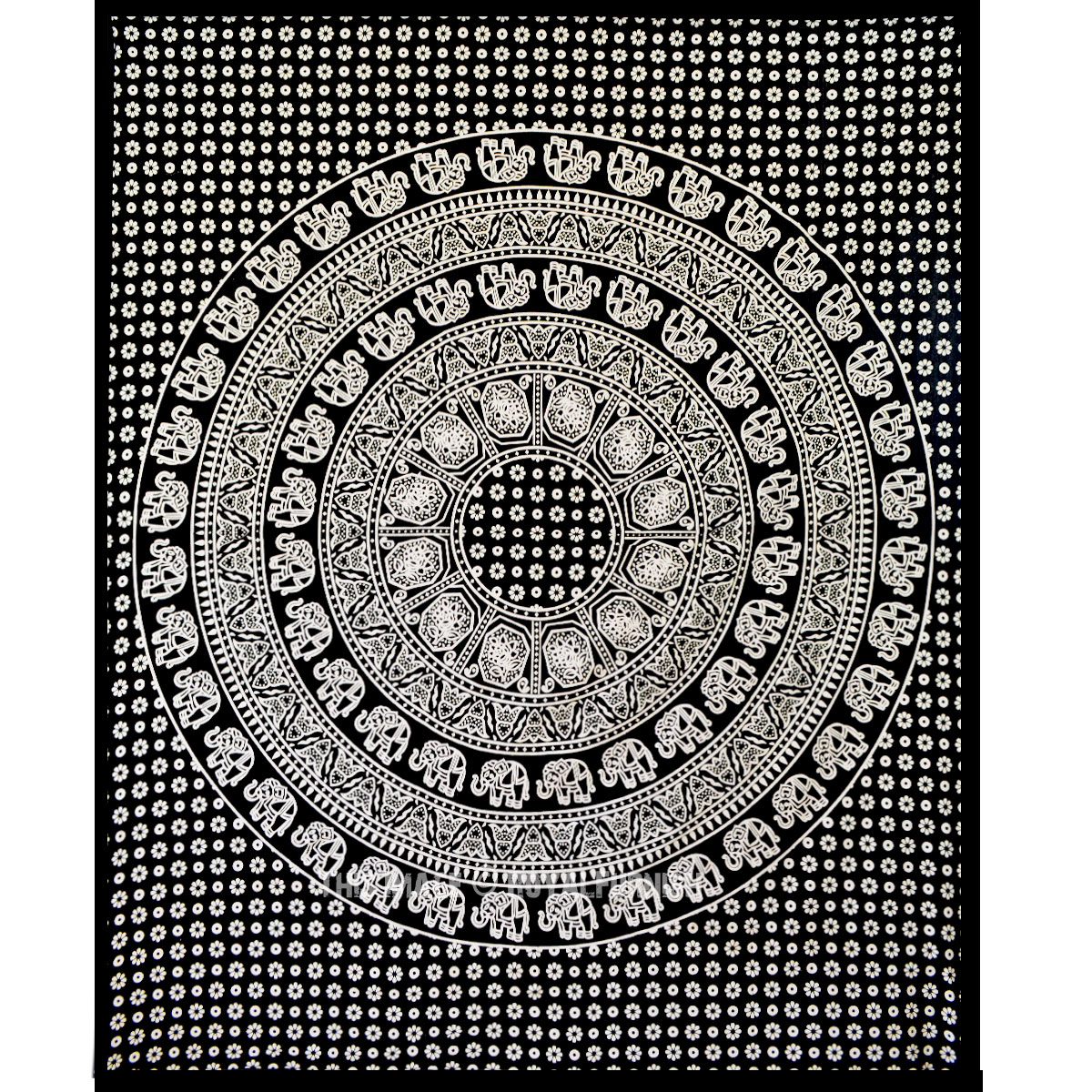Black And White Elephants Ring Circle Medallion Mandala
