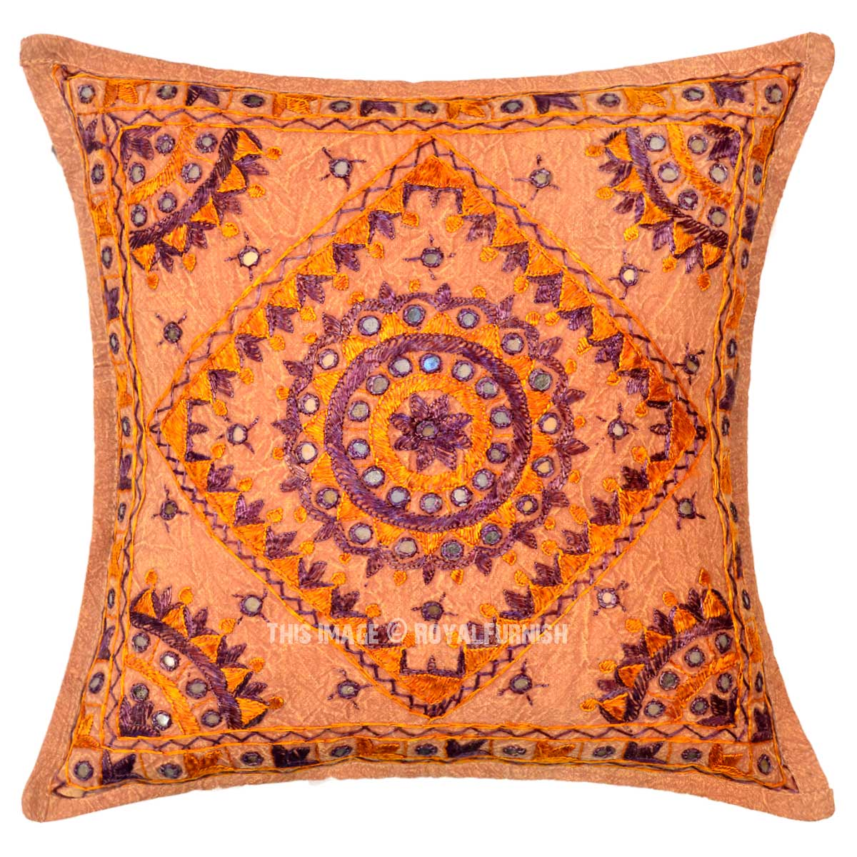 Small Throw Pillow Cases : Brown Multi Small Mirrored Embroidered Cotton Throw Pillow Cover 16X16 Inch - RoyalFurnish.com
