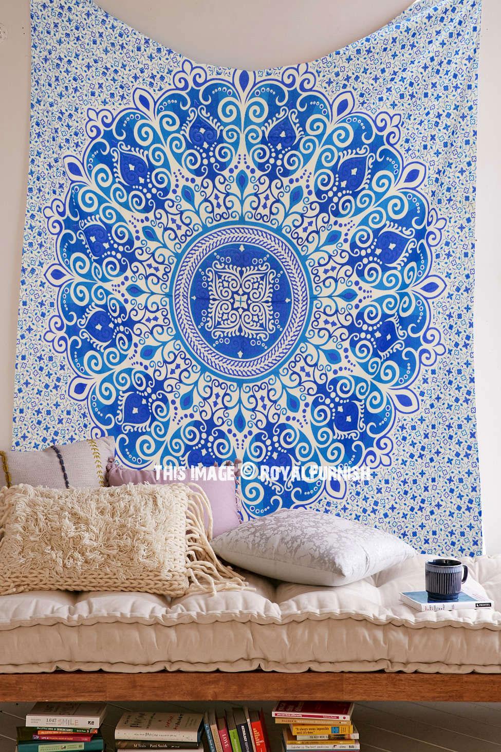 Blue Zumba Floral Medallion Mandala Tapestry Indian