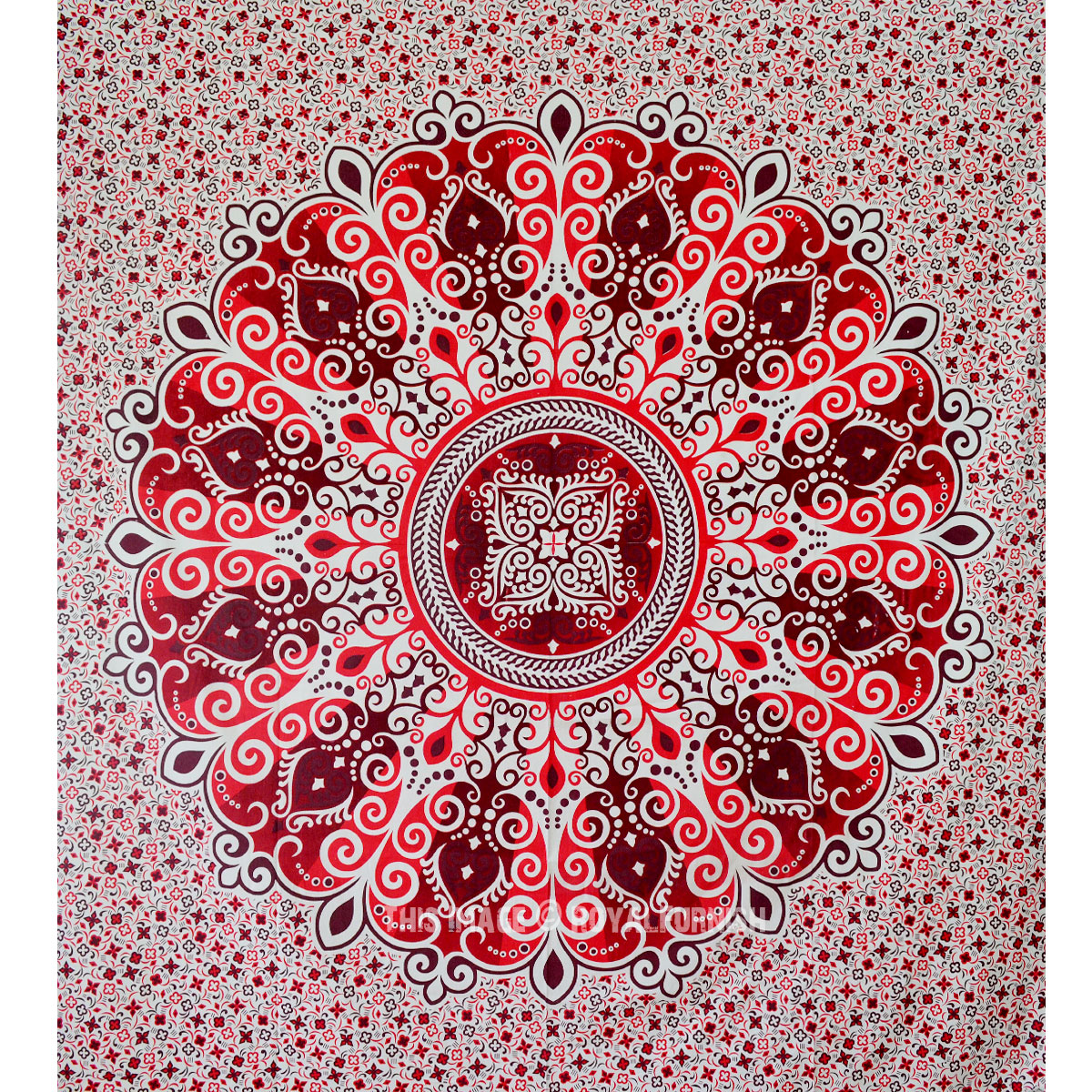 Red Zumba Medallion Bohemian Mandala Tapestry - RoyalFurnish.com