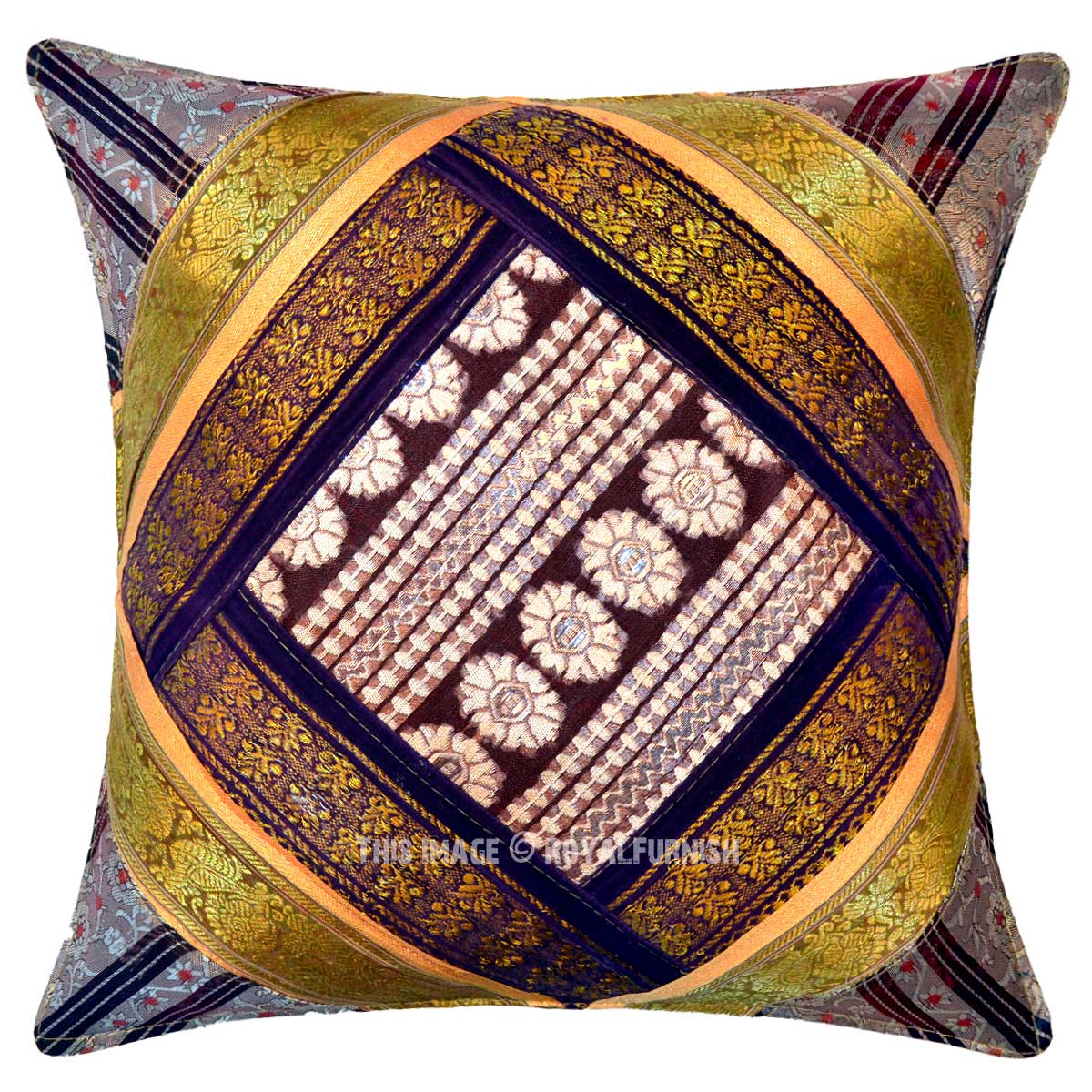 Multi Decorative Silk Sari Unique One-Of-A-Kind Throw Pillow Cover 16X16 Inch - RoyalFurnish.com