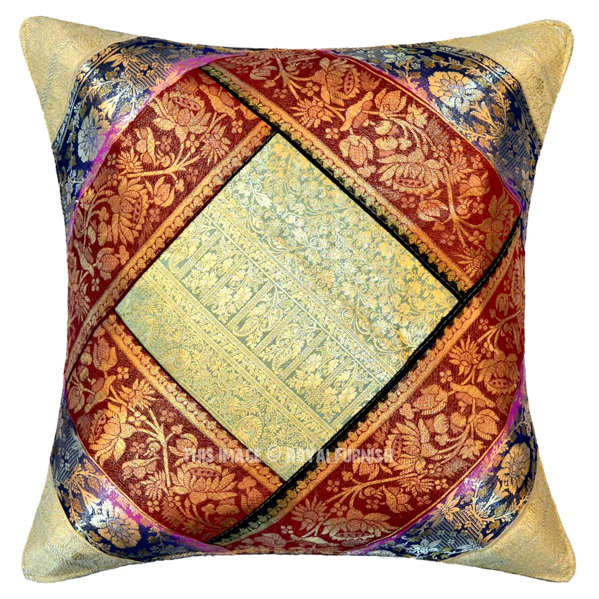 Multi One Of A Kind India Old Sari Made Throw Pillow Cover