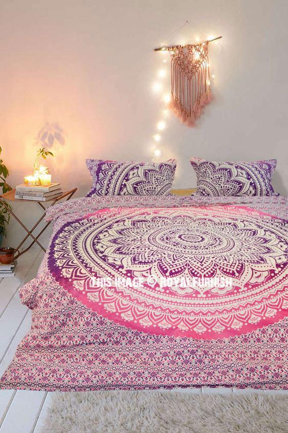 Pink Multi Classic Ombre Boho Mandala Bedding Duvet Cover