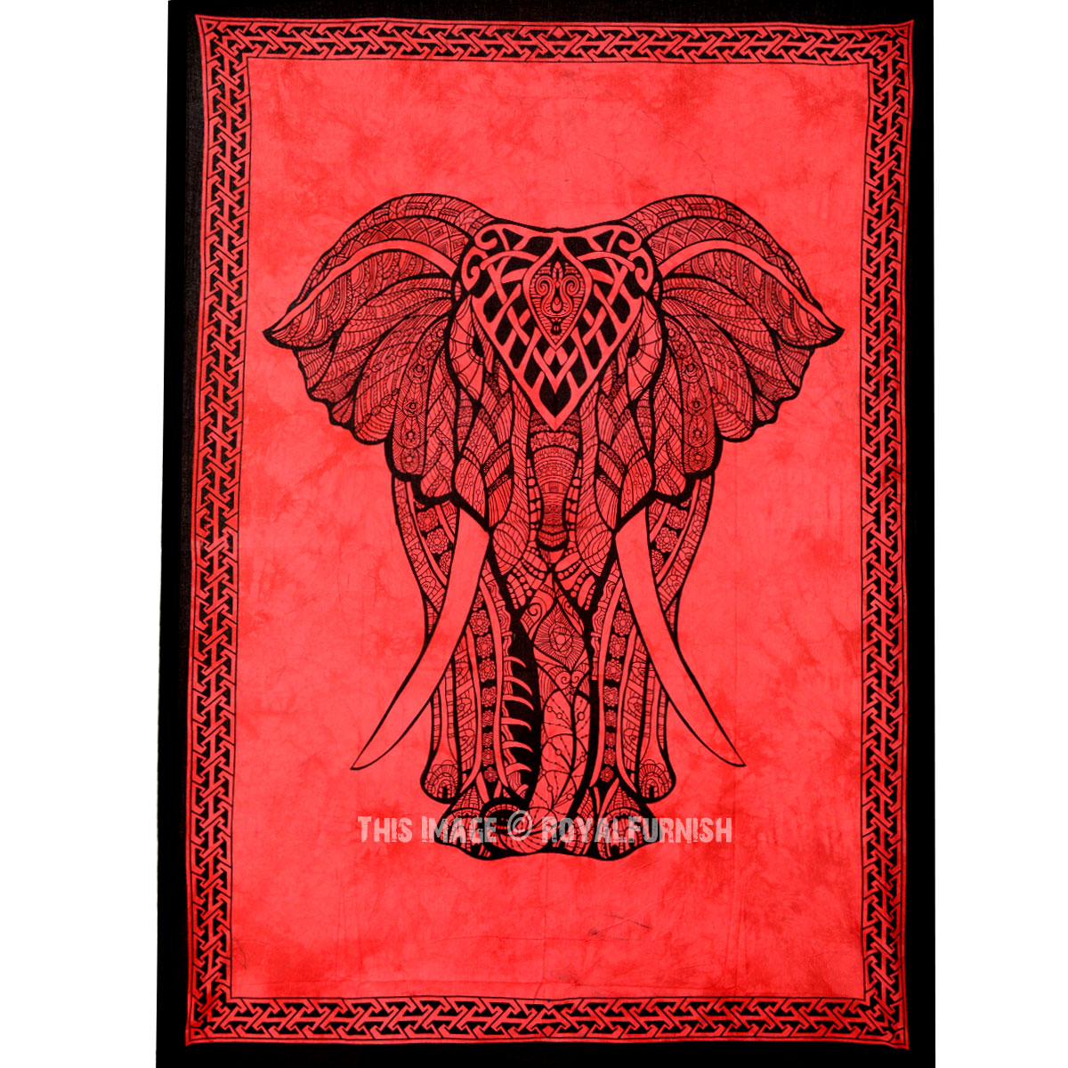 Small Twin Size Red Asian Elephant Tie Dye Tapestry - RoyalFurnish.com