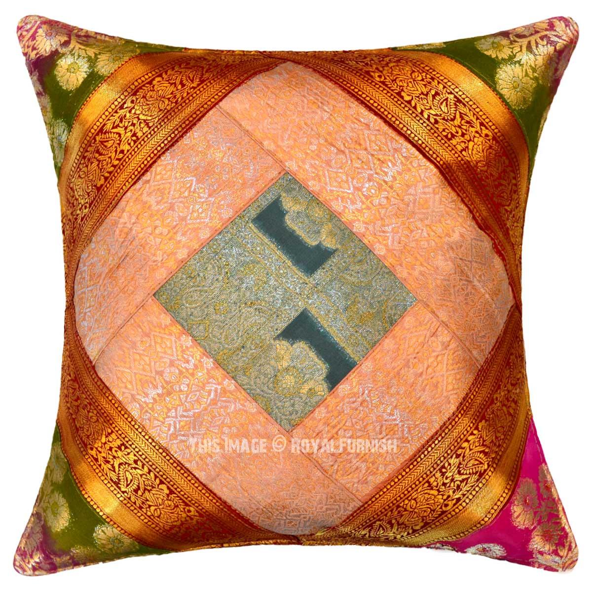Decorative Handcrafted Unique Silk Sari Brocade Throw Pillow Cover 16X16 Inch - RoyalFurnish.com