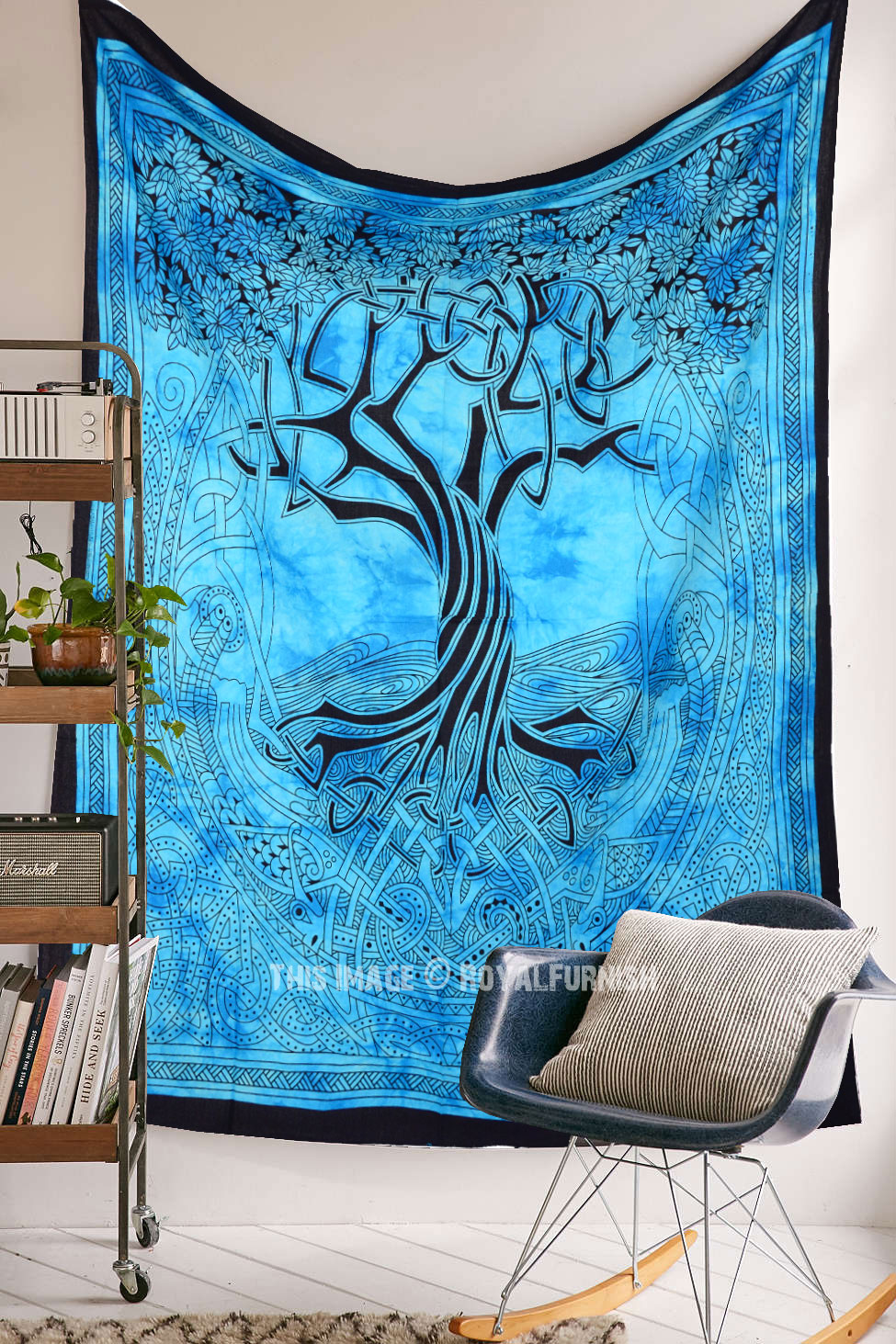 Turquoise Blue Small Celtic Spirits Tree Of Life Tapestry