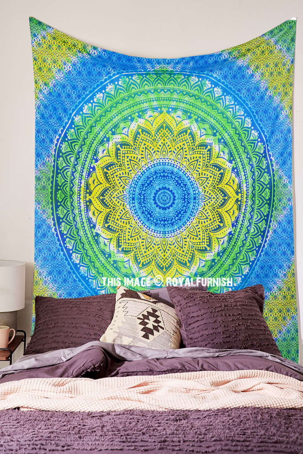 Multi Colorful Tie Dye Rainbow Ombre Mandala Tapestry