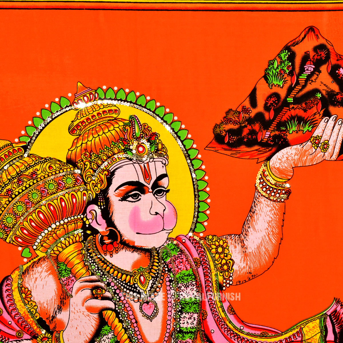 Orange Hindu God Hanuman Lifting Mountain Poster Size