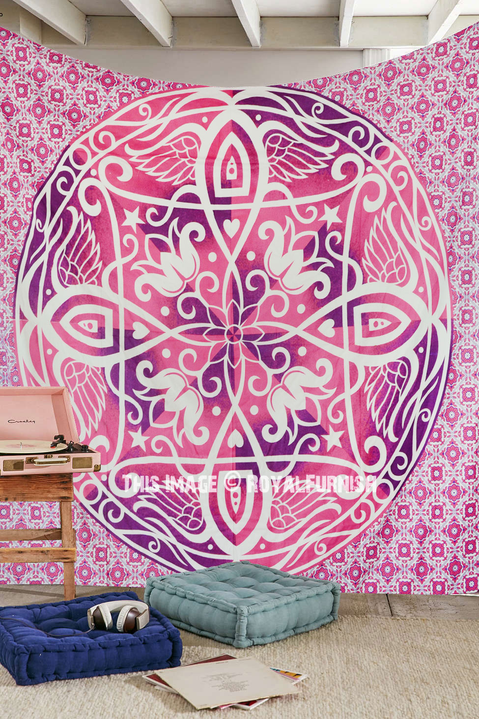 Blue multi elephants sun ombre mandala wall tapestry royalfurnish - Big Pink Symmetry Medallion Ombre Mandala Wall Tapestry