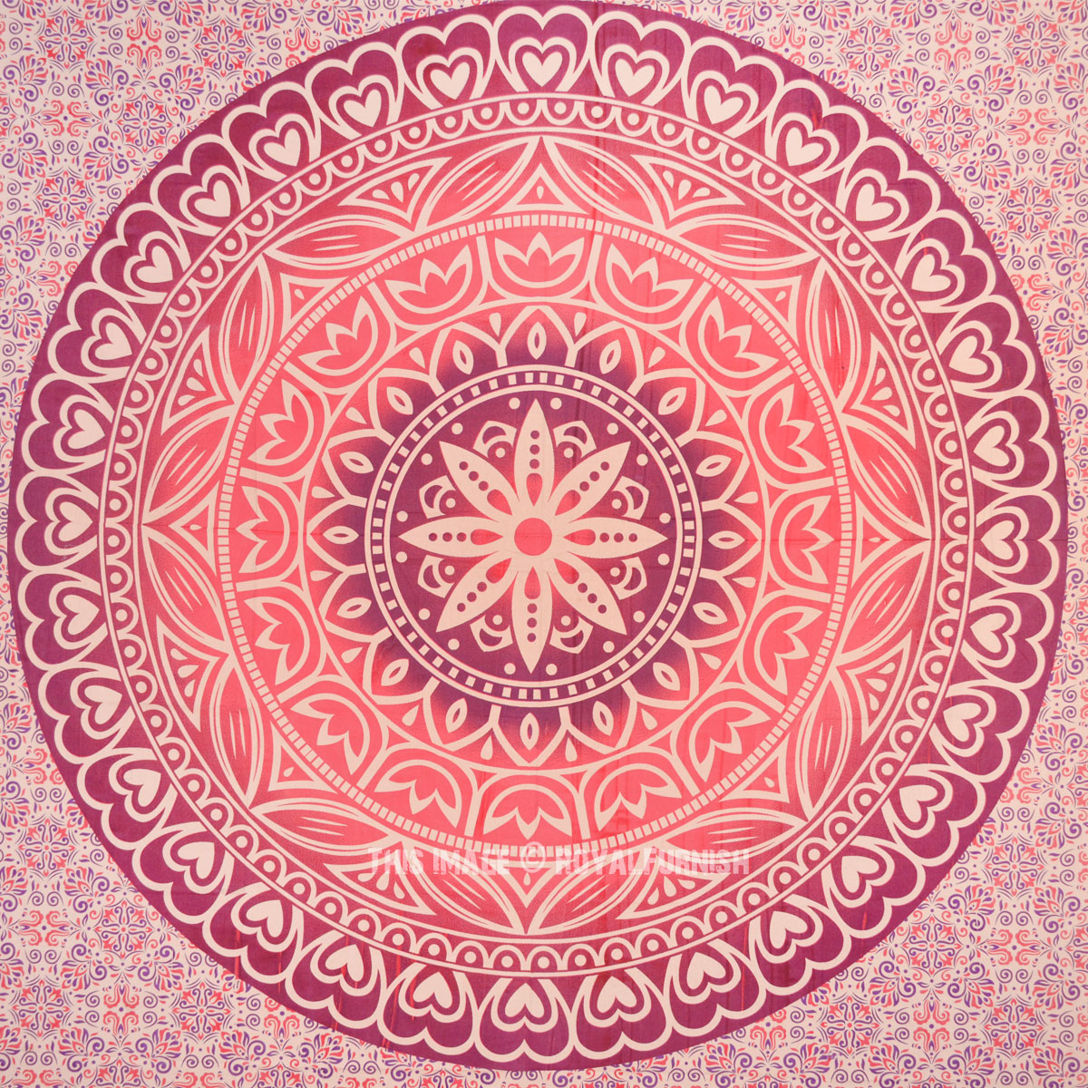 Pink Love Heart Floral Ombre Mandala Wall Tapestry Indian