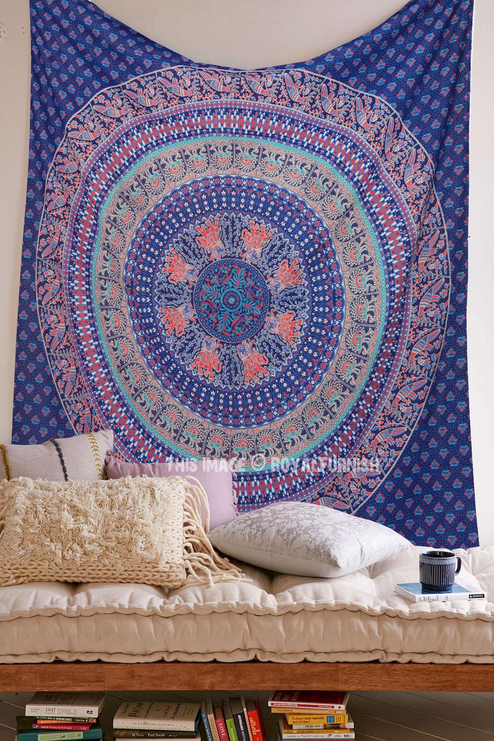Blue multi elephants sun ombre mandala wall tapestry royalfurnish - Blue Elephants Parrot Hippie Mandala Wall Tapestry