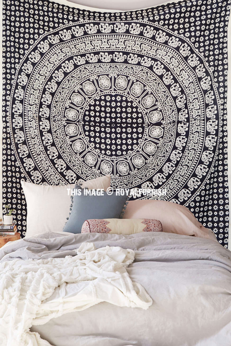 Black And White Multi Elephants Ring Circle Medallion Mandala Tapestry Boho Bedspread Royalfurnish Com