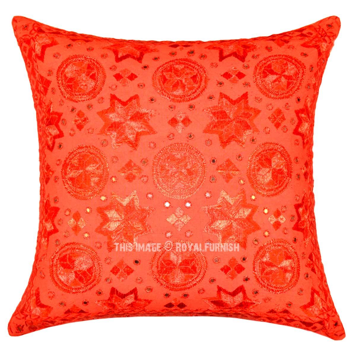 24x24 Red Star Mirror Unique Embroidery Work Art Cotton