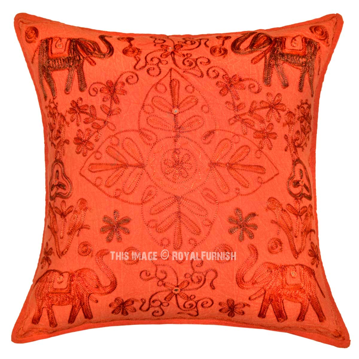 Animal birds hand embroidered cotton throw pillow