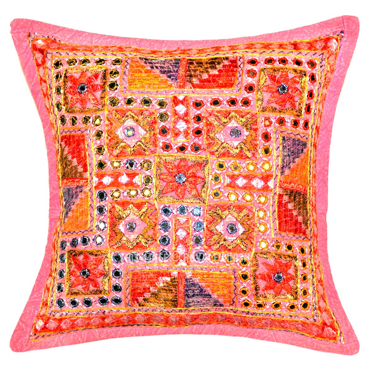 16X16 Pink Multi Maze Mirror Embroidery Design Boho Accent Throw Pillow Cover
