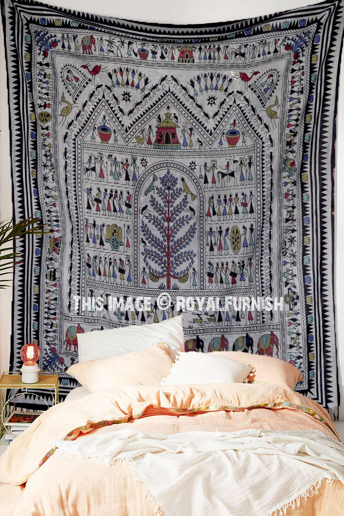 African Tribal Life Monkey Garden Tree Wall Tapestry