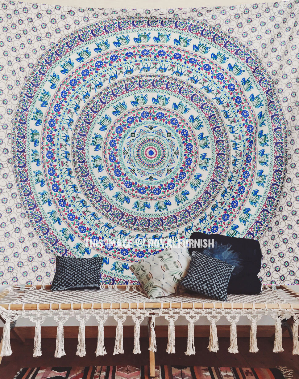Multi elephant medallion mandala wall tapestry - Decoratie geel ...