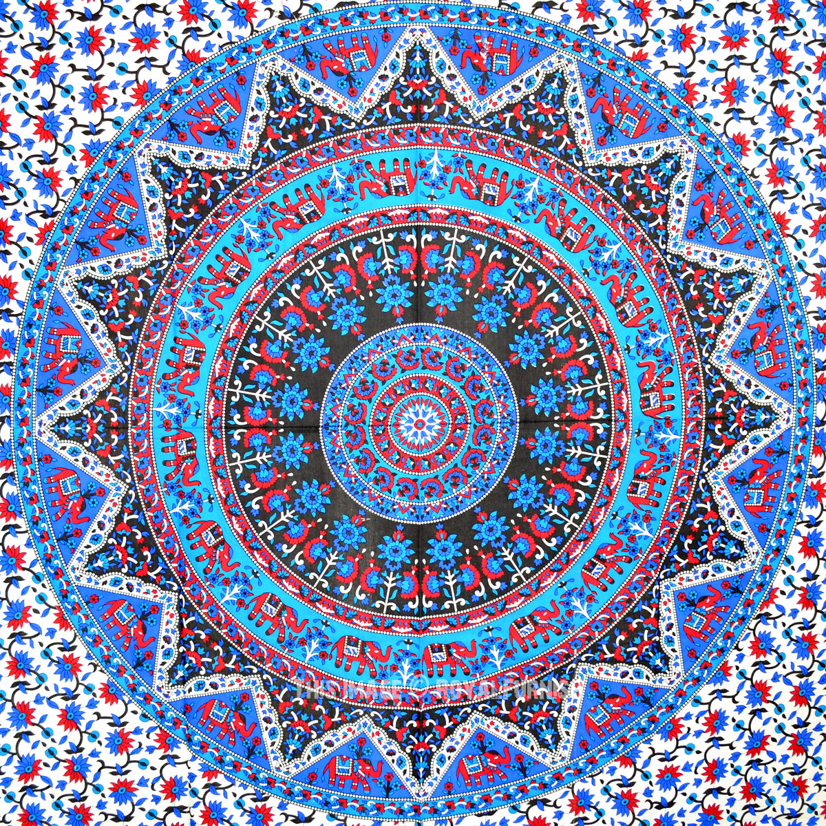 Blend Of Blue And Red Decorative Colorful Medallion Kerala