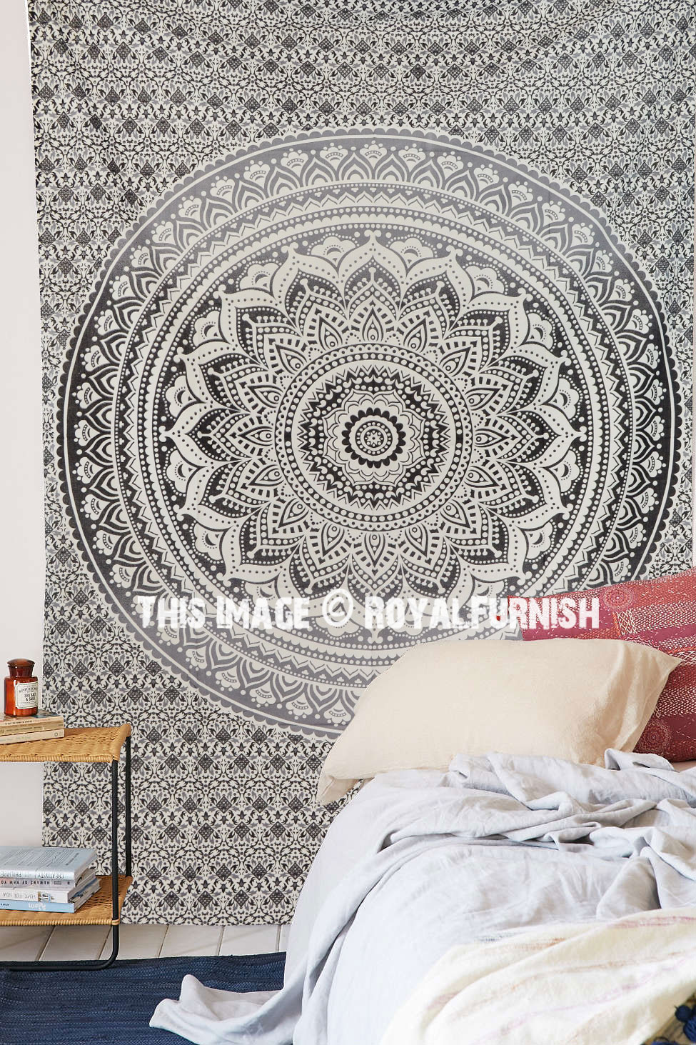 Grey Amp Black Goddess Ombre Mandala Tapestry Floral Wall