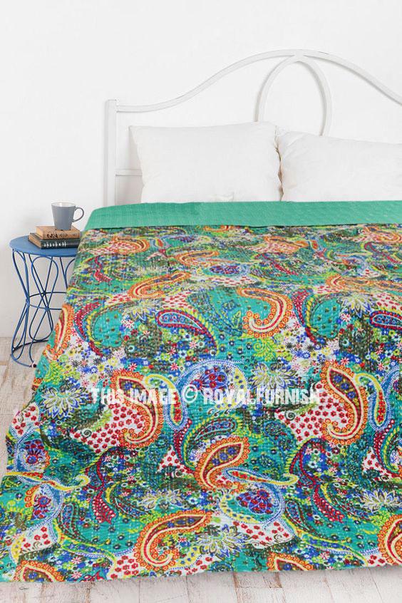 Multi Colorful Unique Paisley Print Cotton Kantha Quilt
