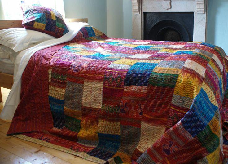 Vintage Kantha Quilt reversible blanket Throw Bohemian  Bedspread Bedding kantha quilt E898