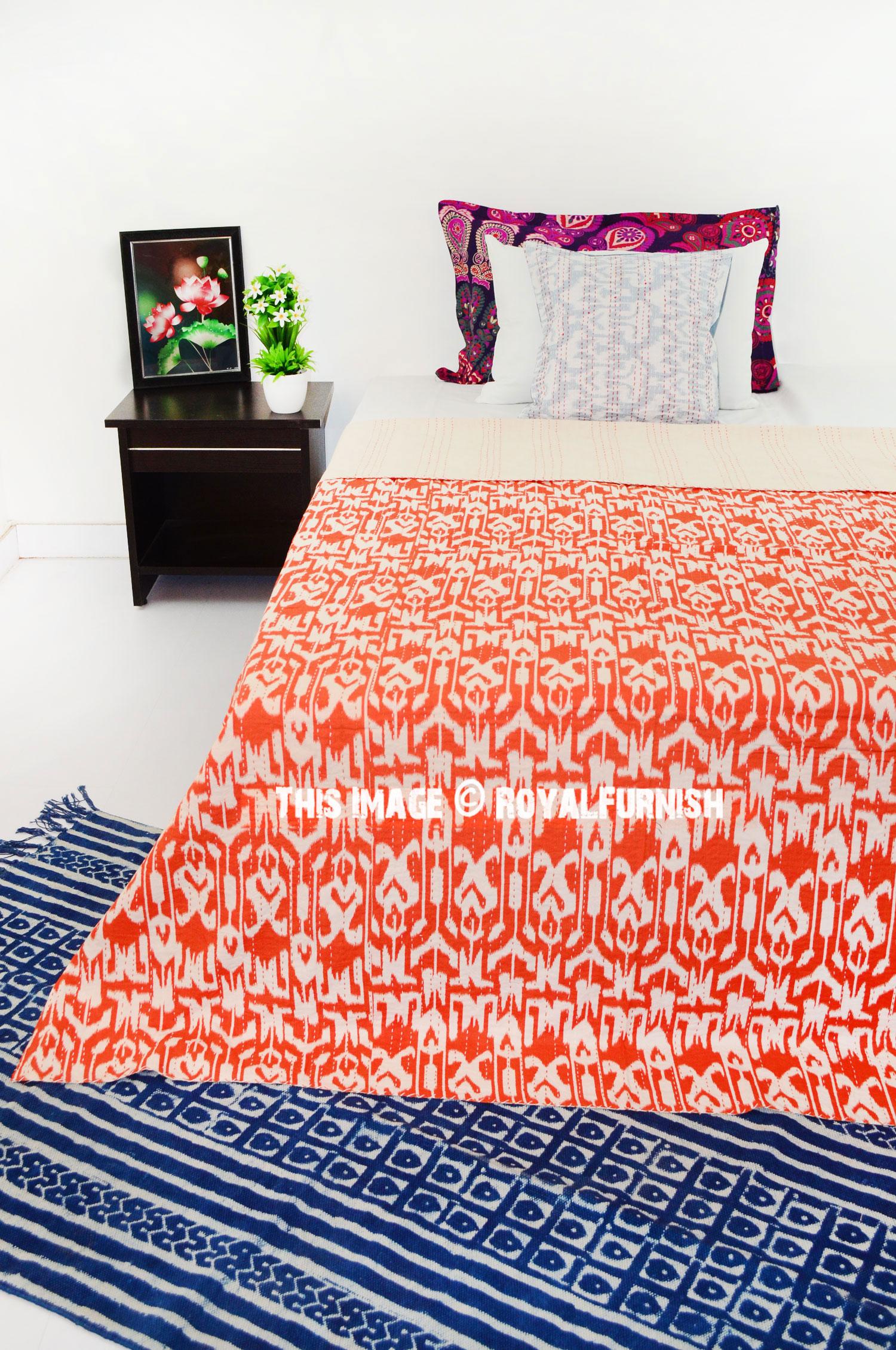 Twin Orange Zigzag Patterned Cotton Kantha Quilt Bedding