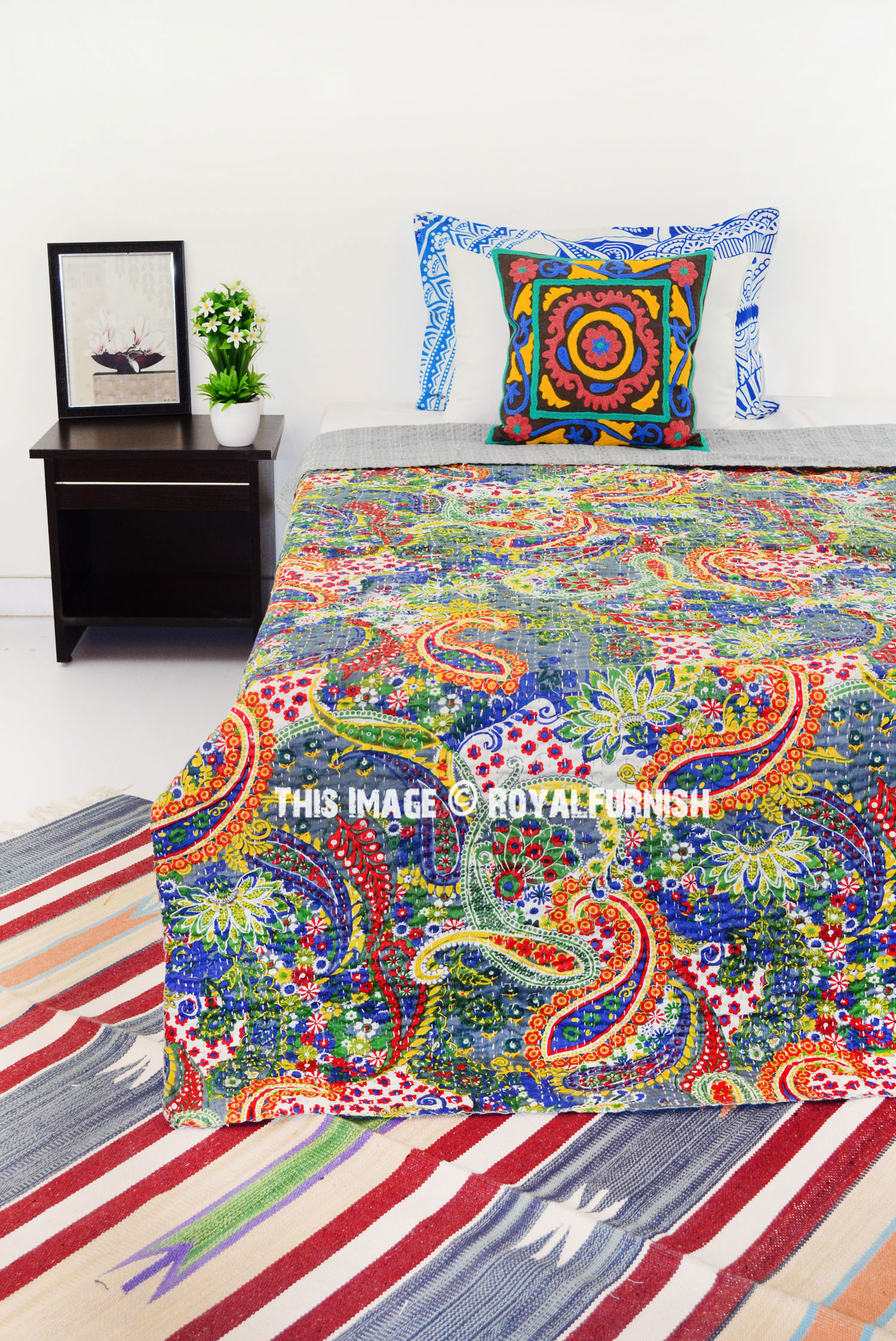 Colorful Multi Unique Paisley Printed Cotton Kantha Quilt